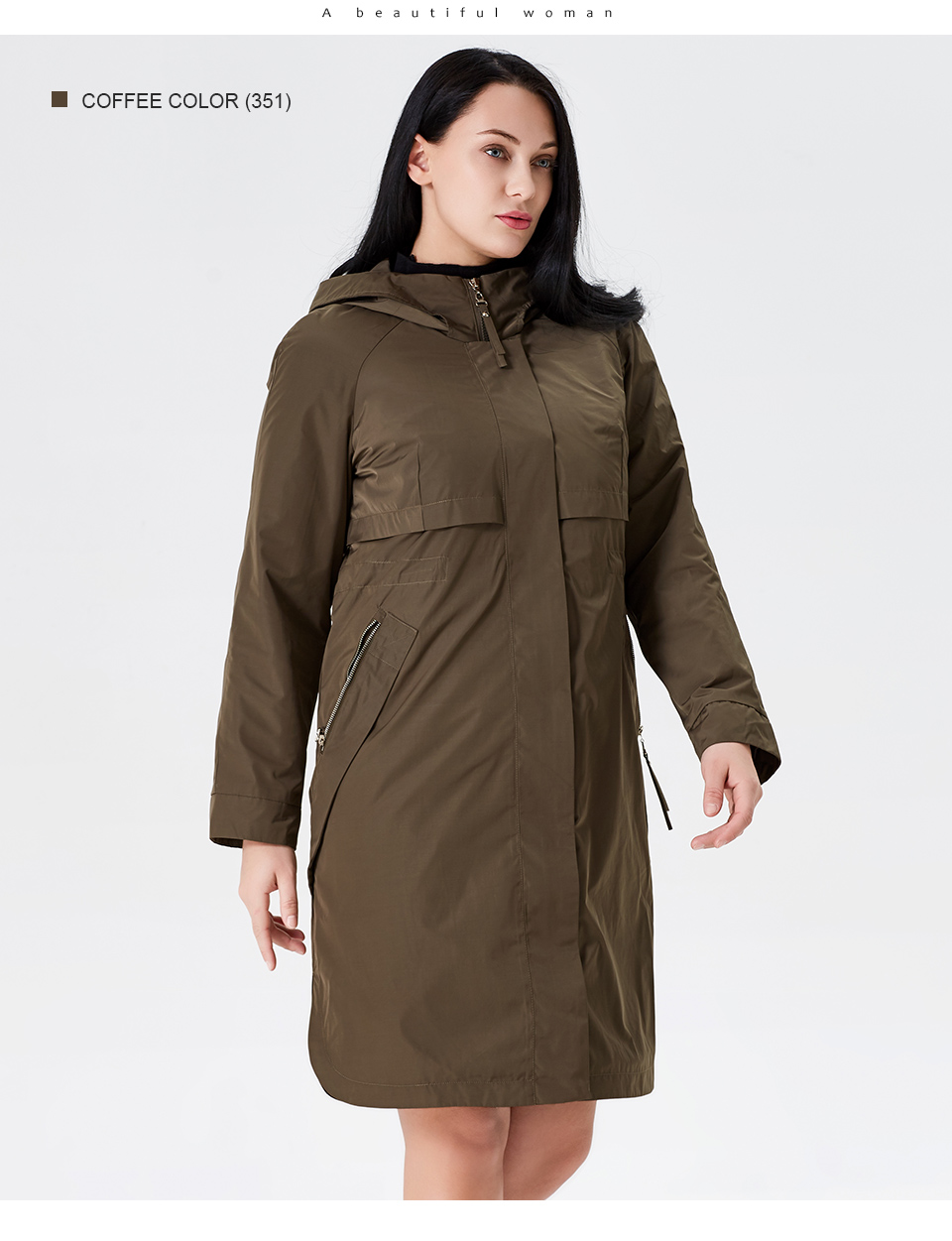 19 Trench Coat Spring And Autumn Women Causal coat Long Sleeve With Hood Solid color female moda muje High Quality new AS-9046 12