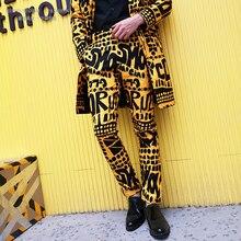 Мужские повседневные штаны певица сценическая одежда Мужская мода желтая буква цветочный принт костюм брюки хип-хоп ночной клуб сценическая певица DJ