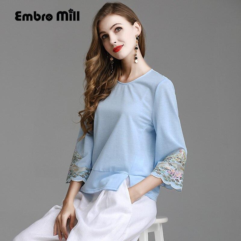 Chemisier femme printemps et été piste nouveau rétro folk broderie coton dames bleu chemise florale mode dame haut M-XL