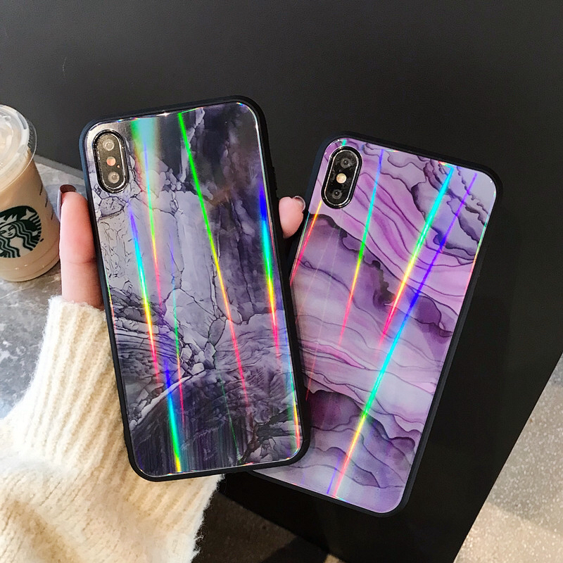 Black purple Pattern texture Luxury Soft Silicone Tempered Glass Phone Case Shell Cover For Iphone 7