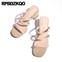 Nude Strappy Vintage Gladiator Sandals Heels Luxury Square Slides 2018 Suede Thick Strap Slip On High Pumps Shoes Chunky Women