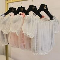 Girls Summer Top Soft Plaid Vest Chiffon Strapless Lantern Sleeve Twinset Cute Shirt