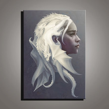 Canvas Art Game of Thrones Dragon Mother Daenerys Targaryen Movie Poster Drawing Art Wall Decor Cuadros Decoracion(China)