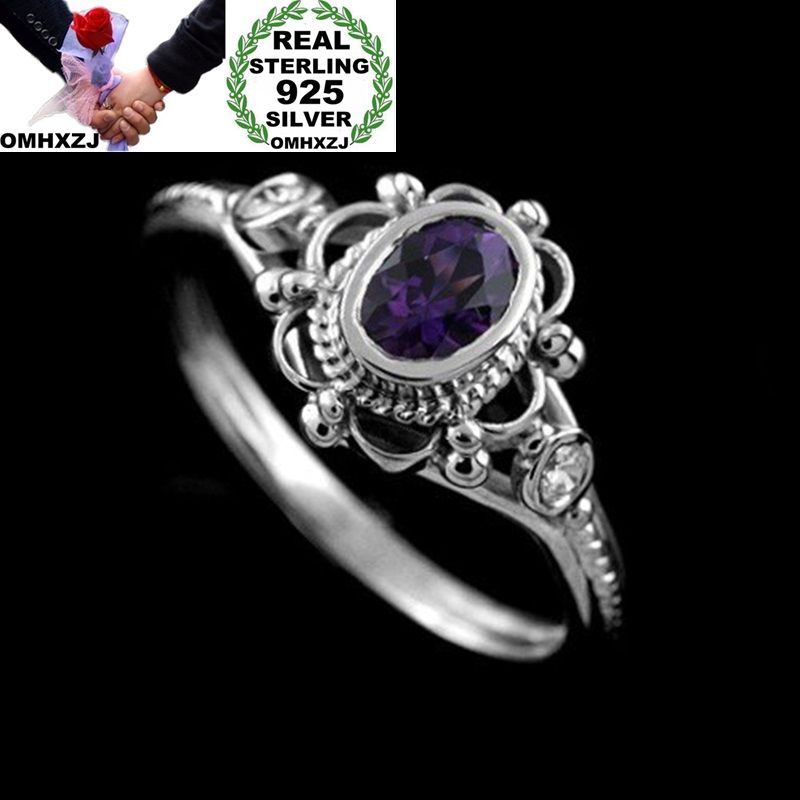 OMHXZJ Wholesale European Fashion Woman Man Party Wedding Gift Silver Oval Red Purple Amethyst AAA Zircon Taiyin Ring RR325