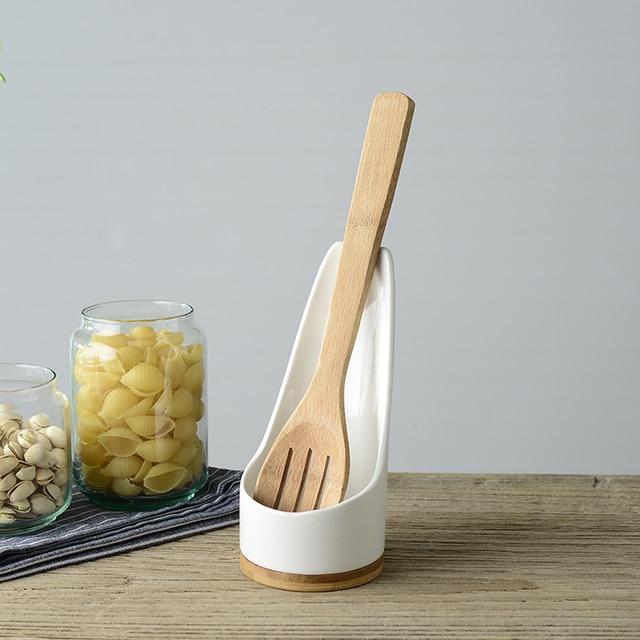 kitchen spoon rest green egg multi functional ceramic rack spatula holder utensils racks white with bamboo