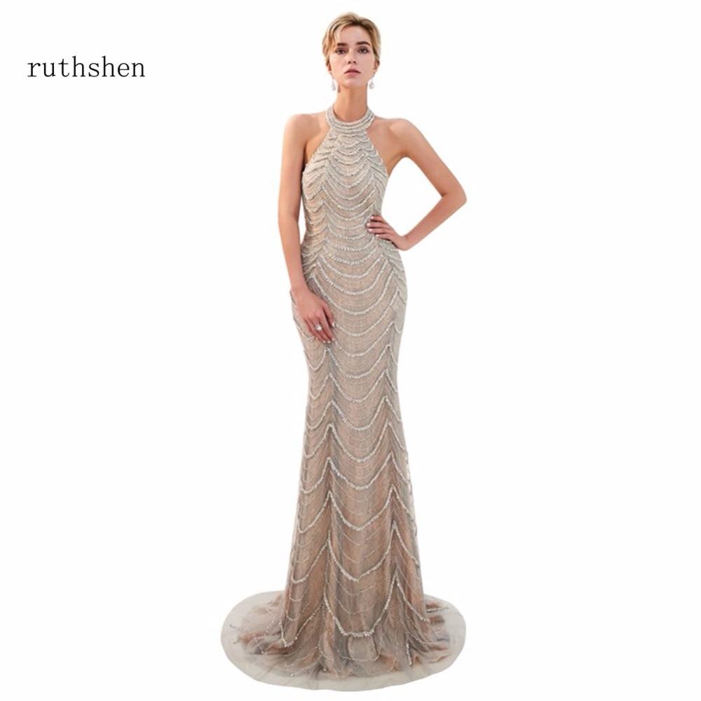 ruthshen Luxury 2018 Halter Beads Prom Dresses Floor Length New Beads Party Gown Evening Dress  Vestidos De Festa For Events