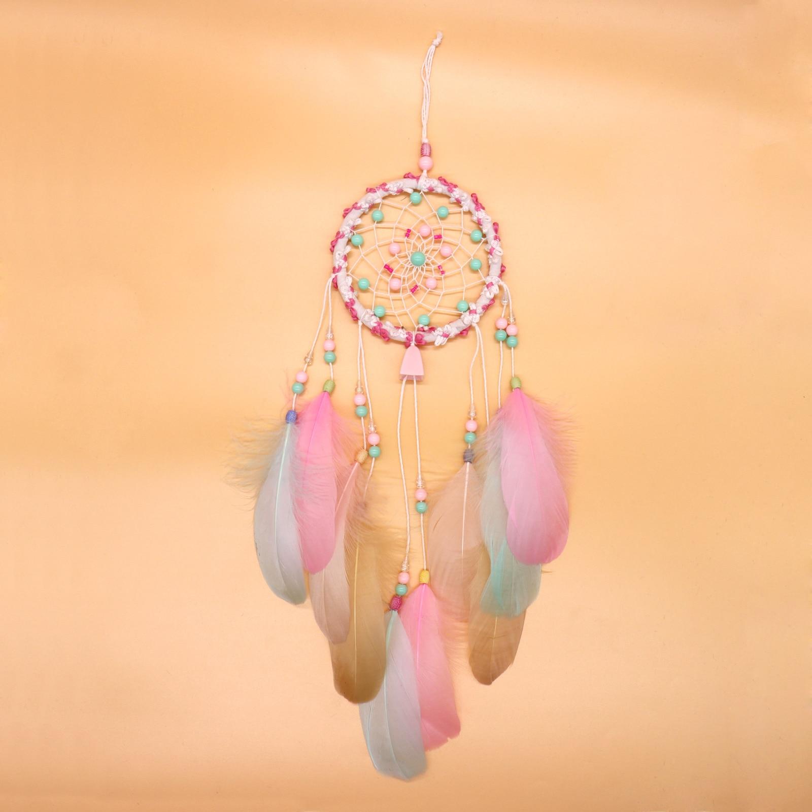 1 Stks Boho Dream Catchers Catcher Handgemaakte Veren Muur Opknoping Boho Diy Bruiloft Decoratie Festival Craft Gift Up-To-Date Styling