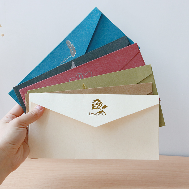 2pcs Simple Style Kraft Paper Envelope Love Letter European Envelop Stationery Gold Blocking Envelopes For Invitations In From Office