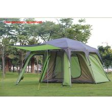Ultralarge 5-8 double layer outdoor 1 living rooms and 1hall family rain-proof camping tent with a mat and double Inner tent