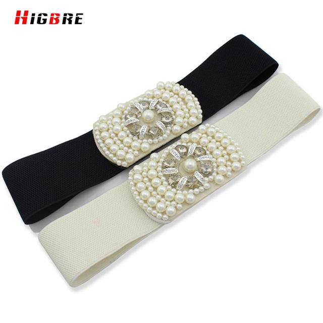 New Girdle Women Gown Belt Pearls Waistband Fimitation Leather Fashion White Elastic Wide Belt Female Sexy Correas De Mujer