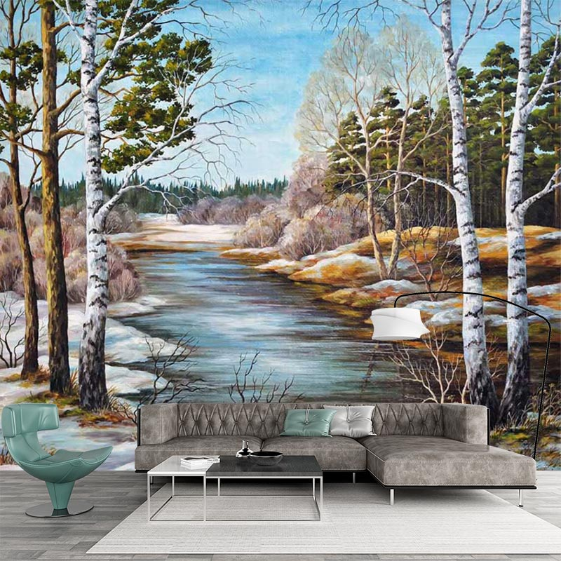 Custom Wallpaper 3 D Wall Mural Natural Scenery Oil Painting Style Photo Wall Paper For Living Room Hand Painted Papel De ParedeCustom Wallpaper 3 D Wall Mural Natural Scenery Oil Painting Style Photo Wall Paper For Living Room Hand Painted Papel De Parede