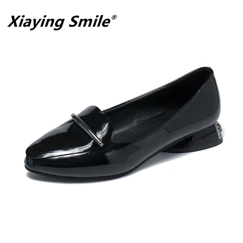 Xiaying Smile Women Heel Pumps New Fashion Casual Shoes Spring Autumn Female Concise Slip On Rubber Metal Decoration Pumps ShoesXiaying Smile Women Heel Pumps New Fashion Casual Shoes Spring Autumn Female Concise Slip On Rubber Metal Decoration Pumps Shoes