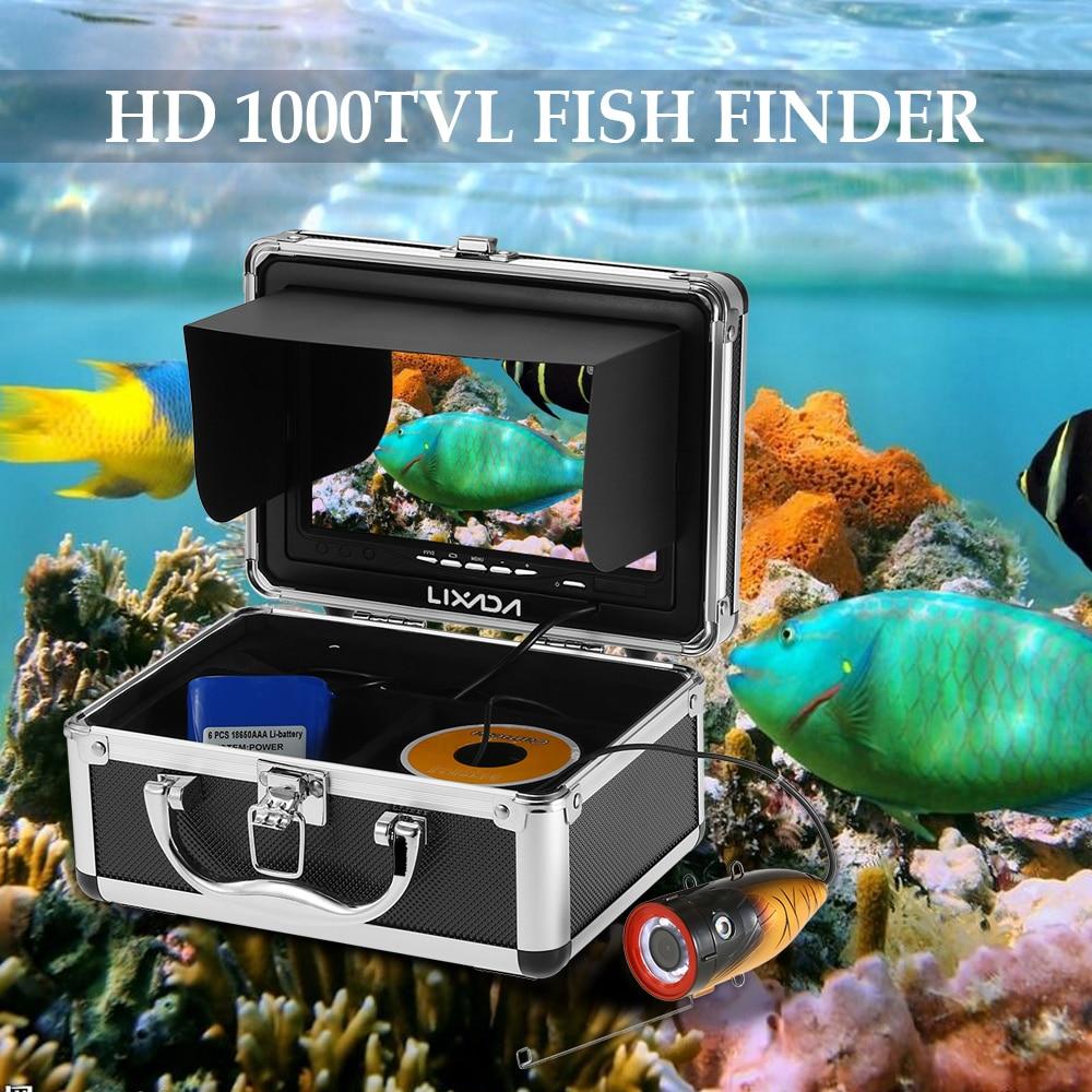 Lixada 7 Color Digital LCD Fish Finder HD1000TVL 12 LED Fishing Camera Fish Finder Underwater Fish
