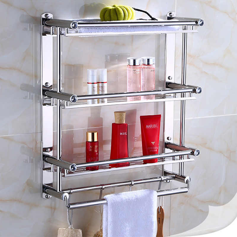 Stainless Steel 3 Layers Bathroom Shampoo Shelf Show Room Makeup Storage Kitchen Storage Organizer With Hooks Towel Rack