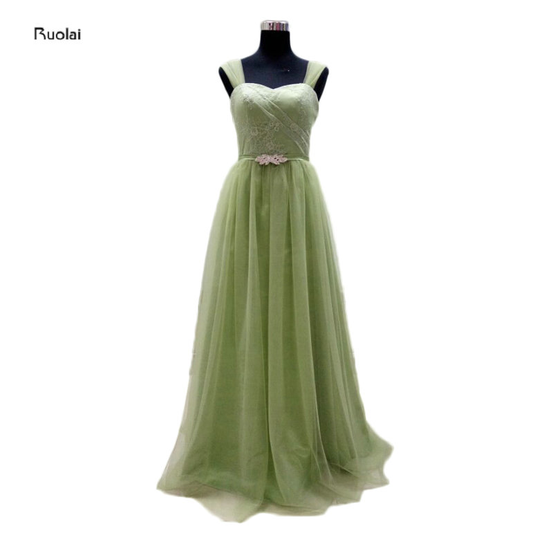 2016 New Arrival Real Sample Green Lace Cap Sleeves A Line   Bridesmaid     Dresses   Long Maid Of Honor For Wedding Party