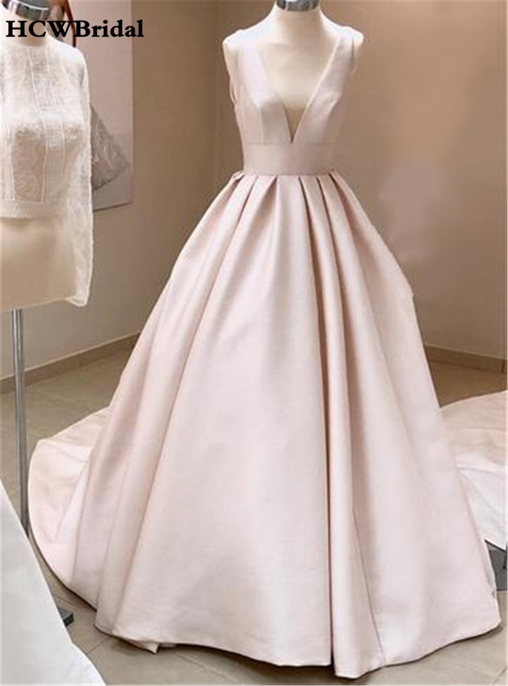 Simple A Line White Satin Wedding Dress V Neck Backless
