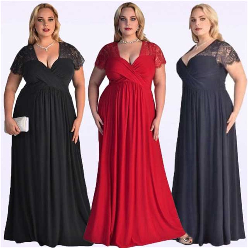 Robe De Soiree 2019 Black Plus Size   Evening     Dresses   Elegant A Line V Neck Short Sleeve Lace Long Formal Wedding Party Gowns