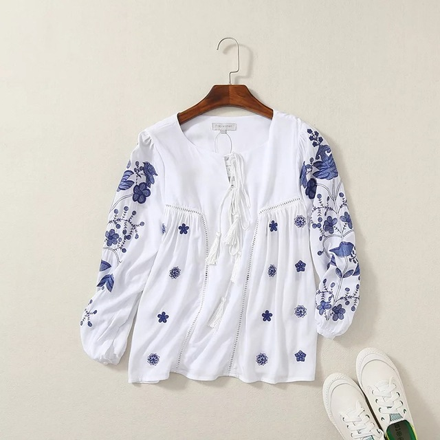 White Embroidery Shirts Women Short Casual Long Sleeve Soft Cotton