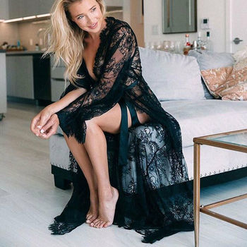 Hot Women Cover Up Lace Kimono Boho Casual Solid Long Bell Sleeve Sheer Loose Collarless Summer Ladies Cardigan Beach Bikini sweet solid color collarless long raglan sleeve cardigan for women