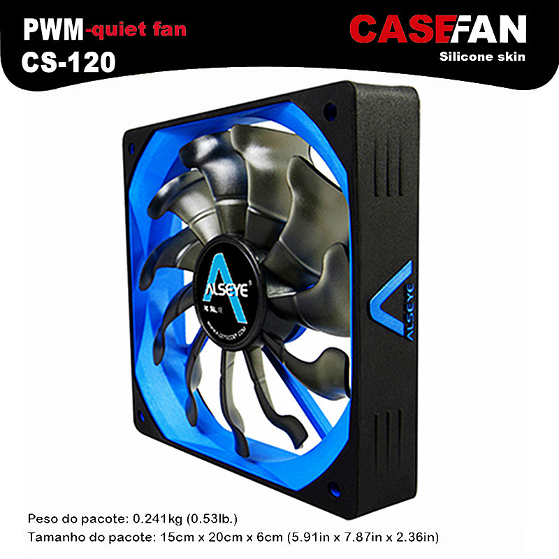 ALSEYE Cooler Fan for Computer, 120mm PWM 4pin Fan for CPU Cooler / Radiator / PC Case, 12V 500-2000RPM Silent Cooling Fans 120mm 4pin neon led light cpu cooling fan 3 heatpipe cooler aluminum heat sink radiator for inter amd pc computer