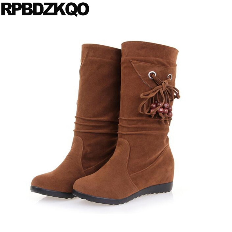 Fashion Flat Women Boots Winter 2017 Round Toe Mid Calf Female Shoes Slip On Fur Lace Up Bow Brown Ladies New Chinese casual female 2016 new winter brown flat heel boots non slip waterproof round toe knight shoes mid calf wear resistance boots