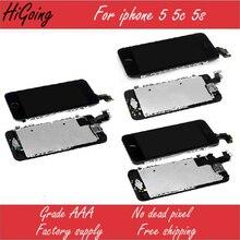 Pantalla lcd para iphone 5c 5s 5 pantalla lcd táctil completa pantalla digitalizador + home + botón de cámara frontal flex cable para iphone 5c 5s 5