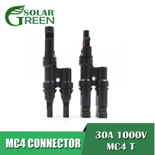 1pair x 2pcs solar Panel parallel connection MC4 T Branch 30A 1000V Electrical Connector Photovoltaic Cable Wire Connect