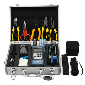 25 piezas para F C-6S herramienta de fibra óptica FTTH cuchilla de fibra Kit Potencia Óptica Visual localizador Pelacables Multifuctional herramientas