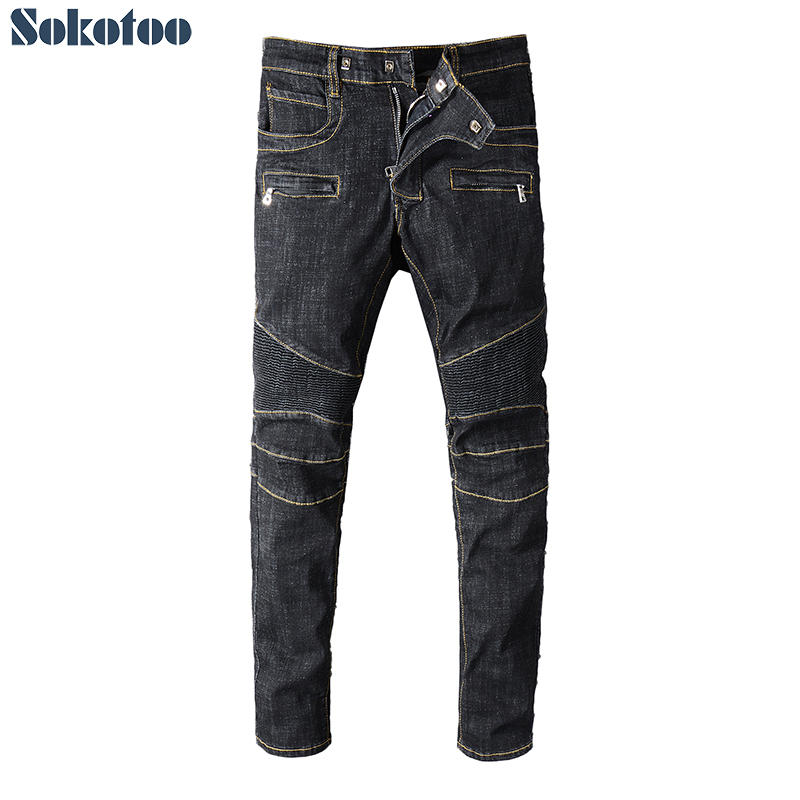 Sokotoo Men's Classic Black Biker Jeans For Motorcycle Plus Big Size Pleated Stretch Denim Pants High Quality