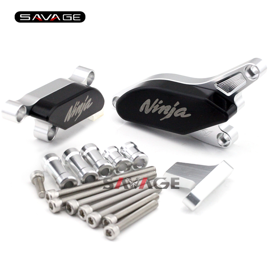 For KAWASAKI NINJA ZX-10R ZX10R 2008 2009 2010 Motorcycle Engine Case Guard Cover Frame Slider Crash Protector Set Silver laser logo fz6 for yamaha fz6 fazer 2006 2010 2007 2008 2009 cnc motorcycle frame crash slider protector drop resistance