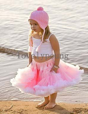 girls tutu skirt pettiskirt  pink+white fringe