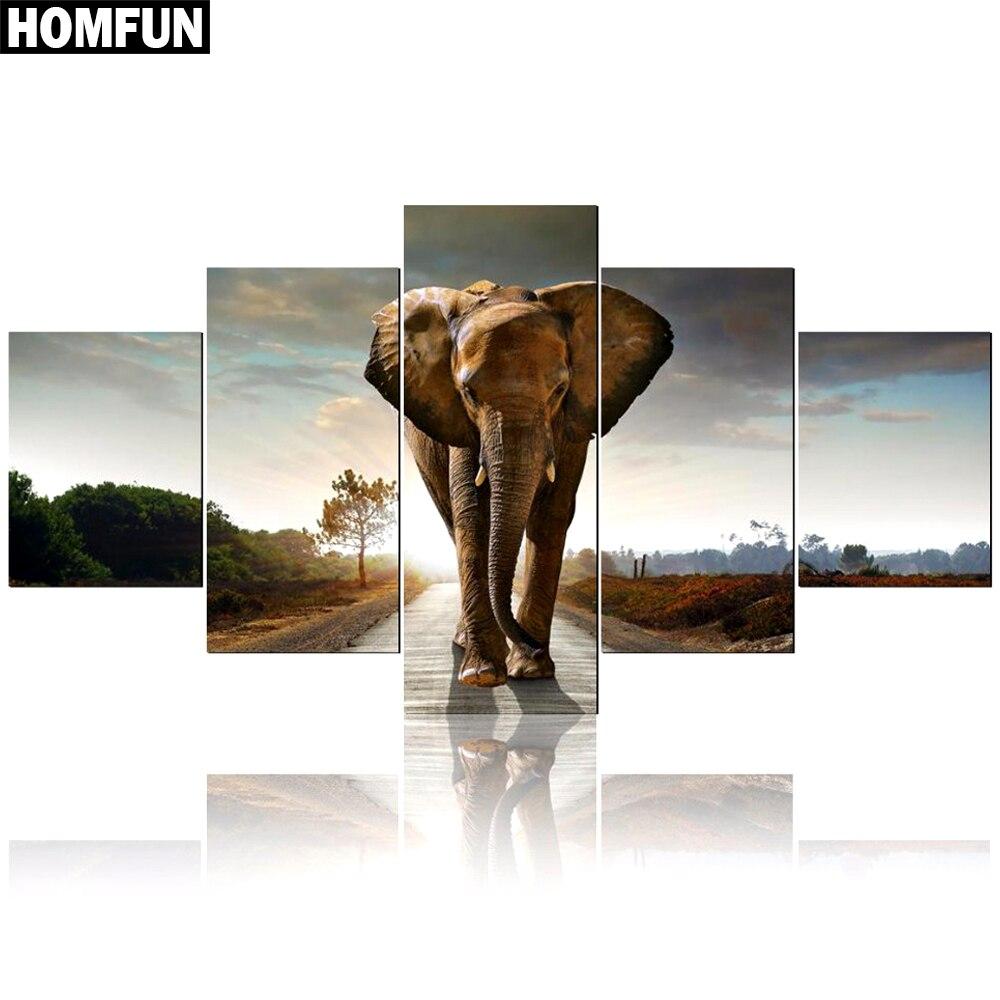HOMFUN 5pcs Full Square/Round Drill 5D DIY Diamond Painting Animal elephant Multi-picture Combination Embroidery 5D DecorHOMFUN 5pcs Full Square/Round Drill 5D DIY Diamond Painting Animal elephant Multi-picture Combination Embroidery 5D Decor