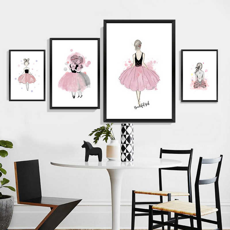 1pc Canvas Print Wall Decor No Frame For Living Room Lovely Girls Fashion Girl Simple Creative Home Decoration