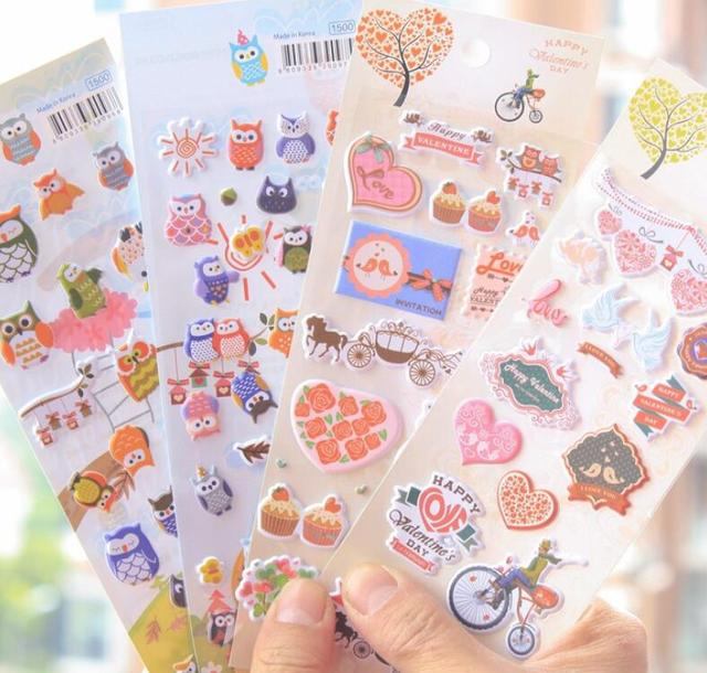 4sheets lot korea stationery owl 3d album cell phone decorative stickers happy valentines day sticker