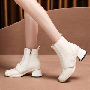 Image 4 - FEDONAS 2020 秋冬暖かい女性の膝のブーツ牛パテントレザーニットロングブーツ乗馬ブーツパーティー靴女性