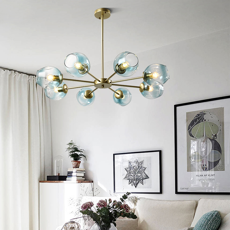 Nordic Hanging Lamp Living Room Modern Led Chandelier Bedroom Restaurant Blown Glass Library Gold Lighting