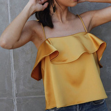 2017 women Summer beach wear off shoulder top sexy satin camisole tank top Fashion ruffles camis party strappy camis tops