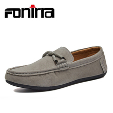 FONIRRA New Suede Leather Men Casual Shoes Solid Blue Moccassin Driving Simple Fashion Loafers Flats 796