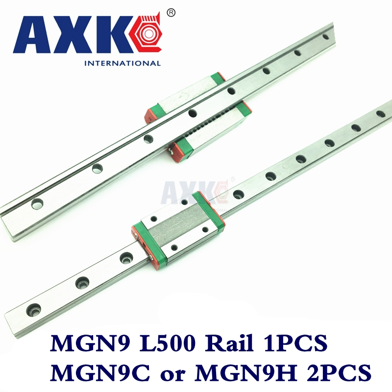 Real Linear Rail AXK Router Parts 1pc 9mm Width Linear Guide Rail 500mm Mgn9 + 2pc Mgn Mgn9c or MGN9H Blocks Carriage For Cnc free shipping for mgn9 l300mm miniature linear rail slide and mgn9c h carriage for cnc router for xyz table