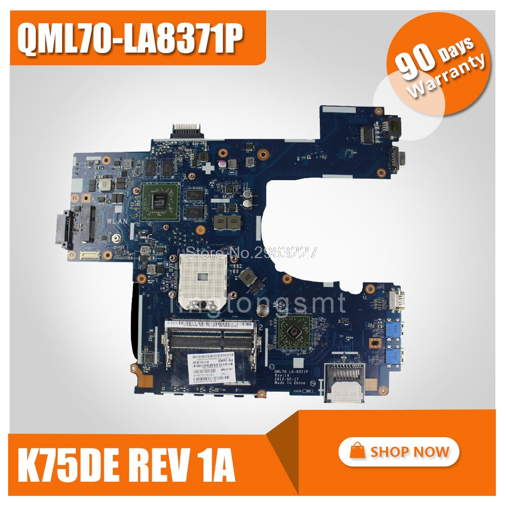 SAMXINNO For ASUS K75DE motherboard Laptop mainboard QML70-LA8371P Rev:1A 100% tested k73ta for asus k73t x73t k73ta k73tk r73t latop motherboard rev 1a qbl70 la 7553p hd7670m 1gb mainboard 100% tested ok