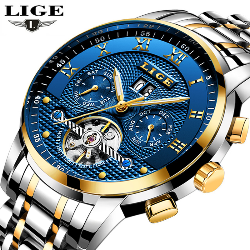 LIGE Automatic Mechanical Stainless Steel Watch Men Fashion Business Top Luxury Brand Sport Waterproof Luminous Mens Watches+BOX lige mens watches top brand luxury fashion business casual watch men stainless steel waterproof automatic mechanical watch box