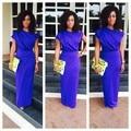 New African Royal Blue Long Brazilian Evening Dresses harajuku Lady Party Dress Boat Neck Robe De Soiree Longue AFD04