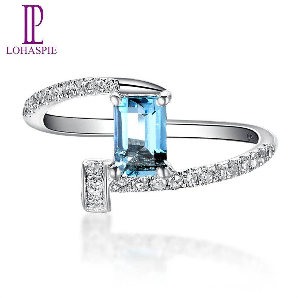 Lohaspie Solid 18k White Gold 0.48ct Natural Aquamarine & Diamond Clou Engagement Ring Diamond-Jewelry For Women Gift
