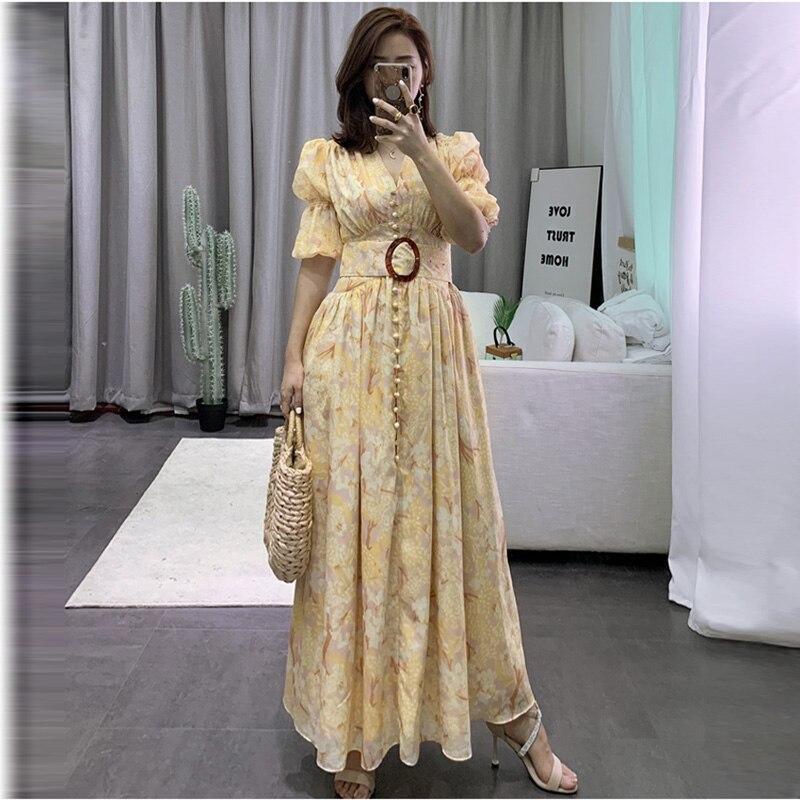 Haute qualité 2019 mode longue robe femmes Sexy col en v manches bouffantes fleur impression ceinture d'été robe bouton élégant Maxi robe