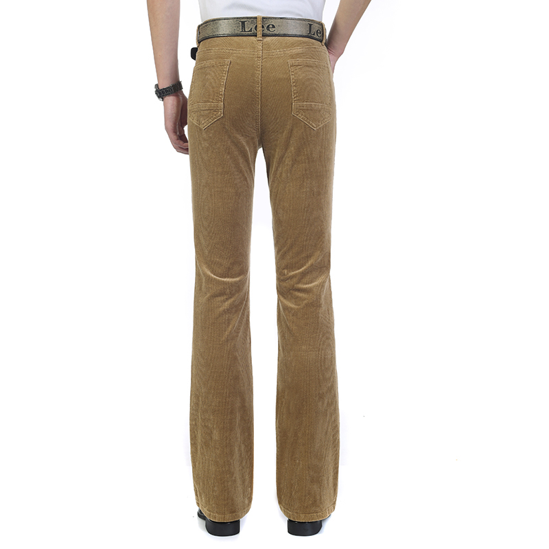 Free Shipping High Quality 2019 New Men's Spring Corduroy Flares Pants Mid Waist Smart Casual Bootcut Trousers Plus Size 27-38 114