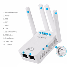 2.4/5G 4 เสาอากาศ WIFI Router 300Mbps Dual Band Range Extender WiFi Repeater ไร้สาย Wi Fi router เครือข่าย Home Supplies