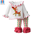 New Fashion Kids Christmas Pajamas baby toddler Girls long-sleeved t-shirt + pants suits gift roupas infantis menina 2016 Retail