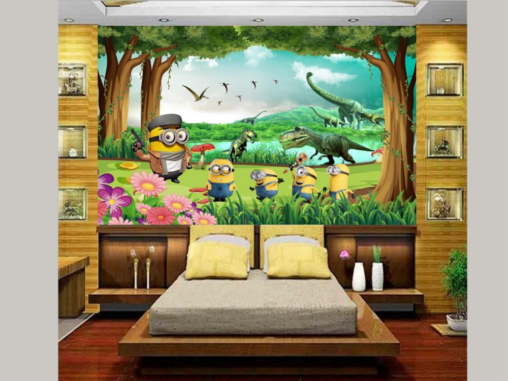 Custom 3d Photo Wallpaper Kids Room Mural Forest Dinosaur Hd Painting Picture Background Non Woven