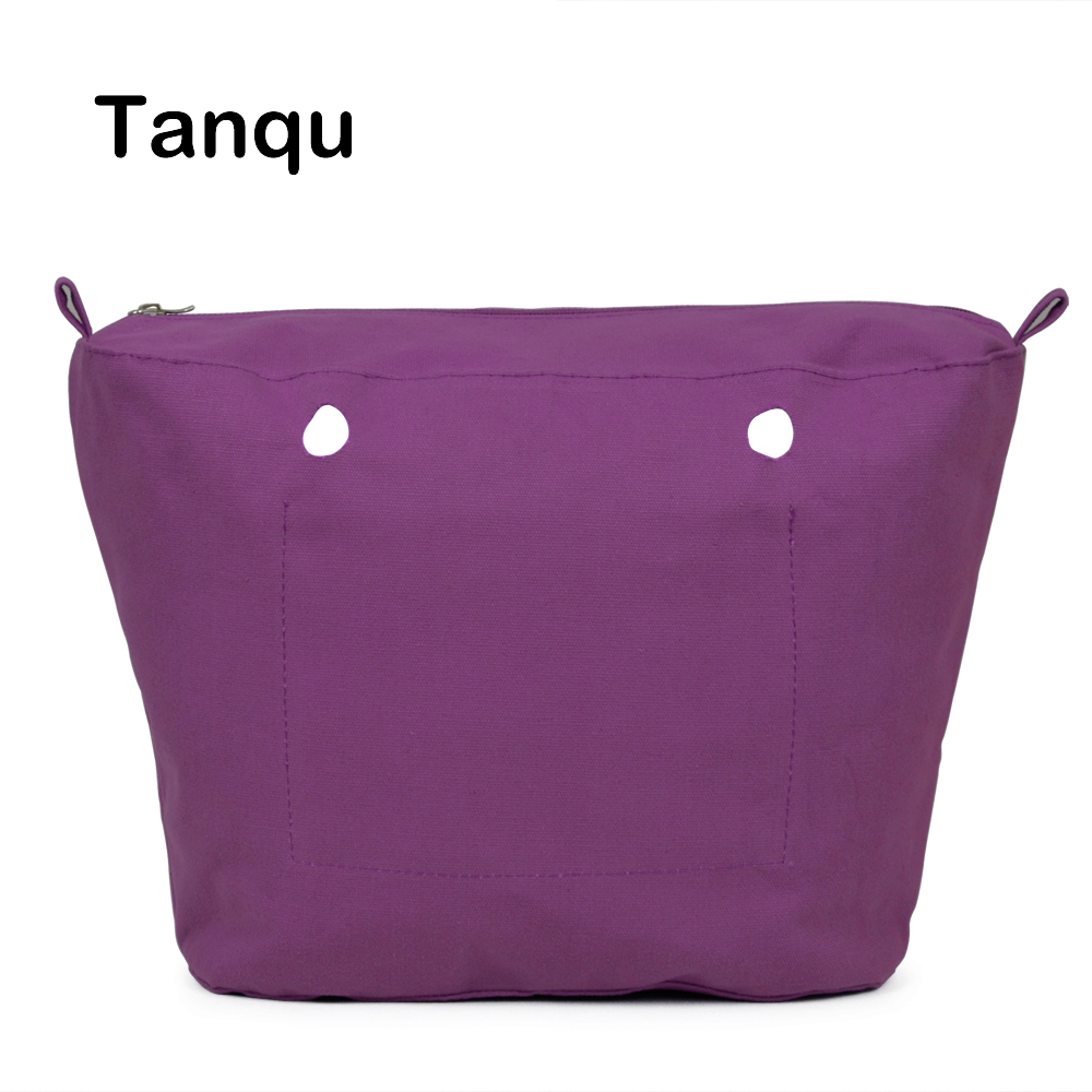 TANQU New Inner Lining Zipper Pocket for Mini Obag Canvas Insert with Inner Waterproof Coating for O Bag tanqu new mini floral print pu leather lining waterproof insert zipper inner pocket for mini obag eva o bag women handbag