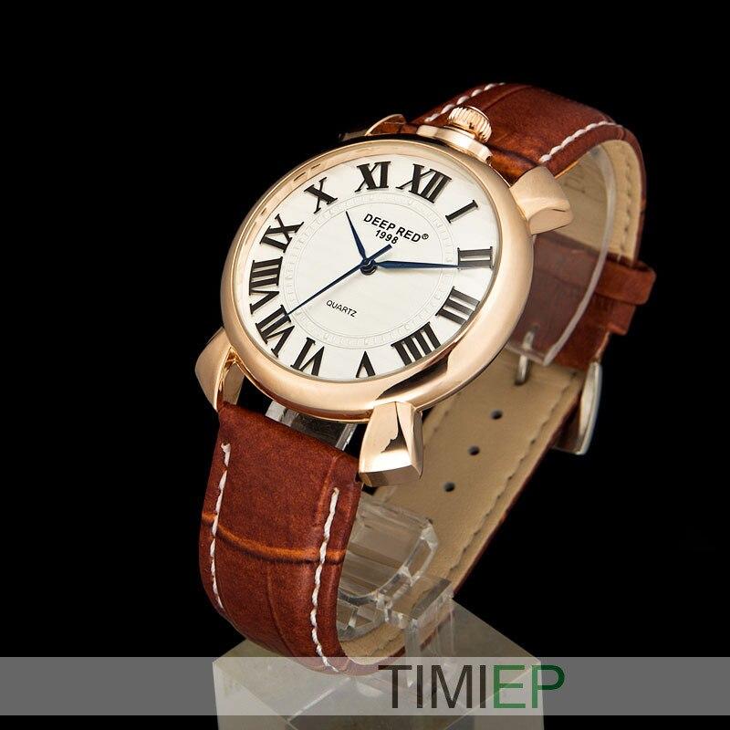 DEEPRED NEW Luxury Sport Analog Quartz Clock Mens Wrist Watch Rose Gold Men Quartz Watch